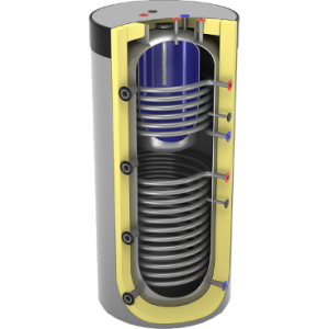 akumuliacinė talpa su talpa ir dviem šilumokaičiais