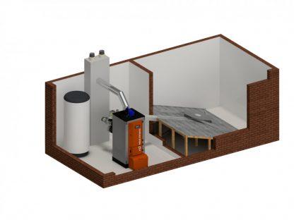 Biomasės katilo schema